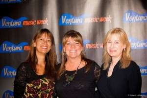 Pam Baumgardner and Eve Mimiaga of Ventura Rocks, with Kat Merrick of Totally Local VC between them.