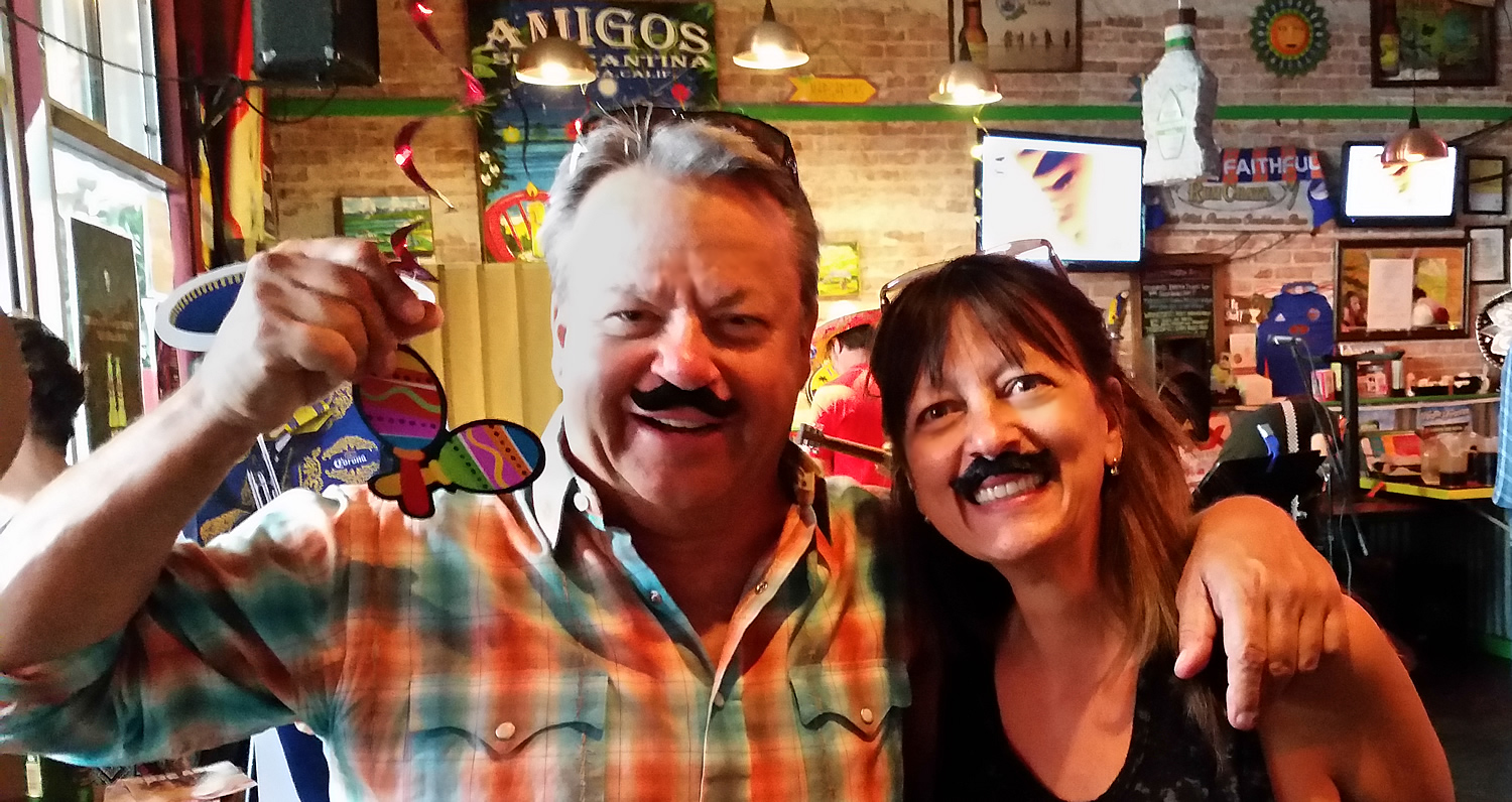 Jon Reese of Amigos with columnist Pam Baumgardner of the Ventura Breeze celebrating Cinco de Mayo earlier this year.